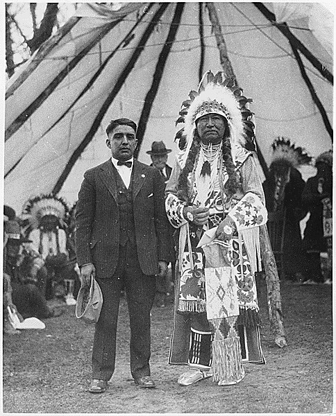 Cheif Tendoi with interpreter Geoge LaVatta at Fort Hall Reservation, ca. 1923