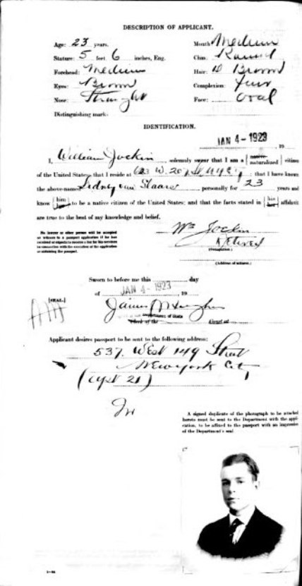 1923 assport Application of Sidney van Slaars