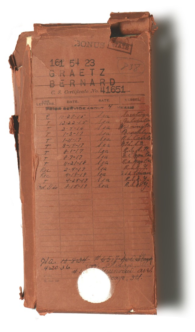 National Personnel Records Center (Archival Operations Branch) (NRPAO), Graetz Bernard World War I Naval Military Personnel Record