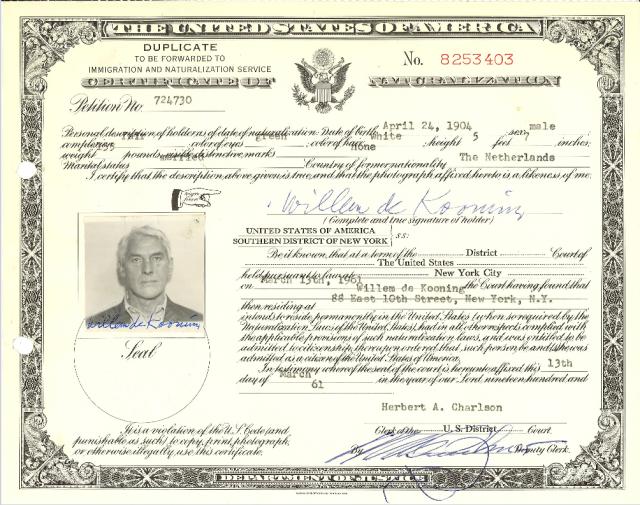 Willem de Kooning Certificate of Naturalization.