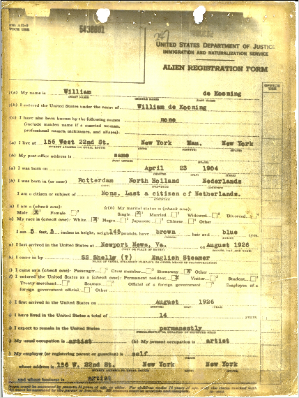 Willem de Kooning Alien Registration Form.