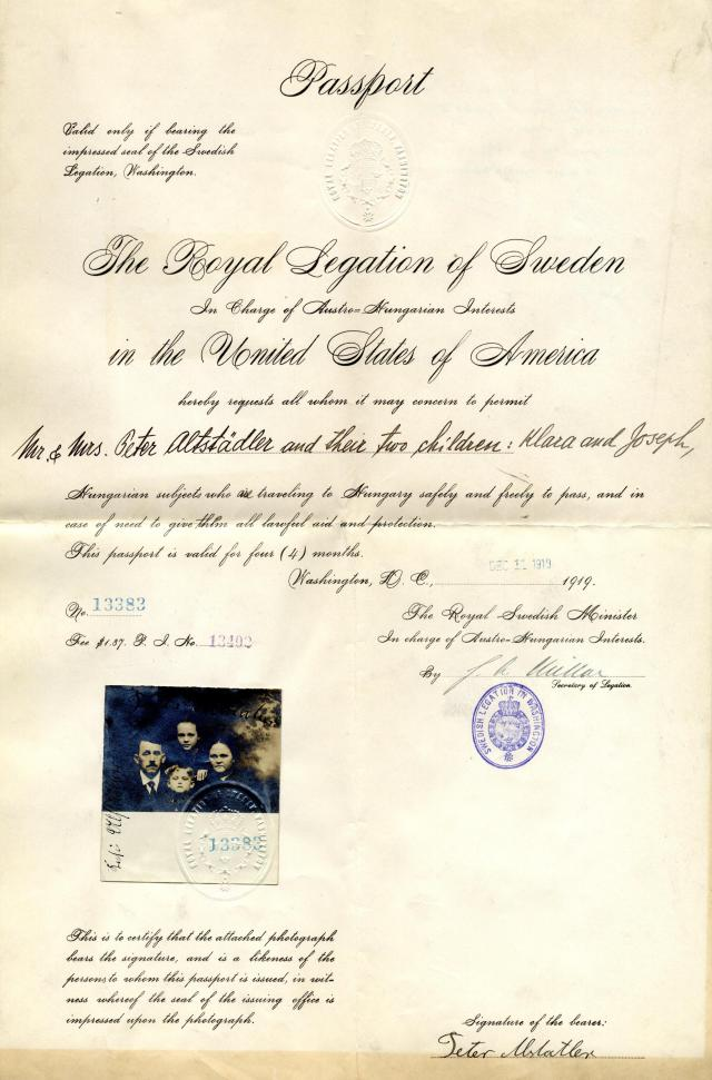 Passport issued by the Royal Legation of Sweden in charge of Astro-Hungarian interests in the United States of America