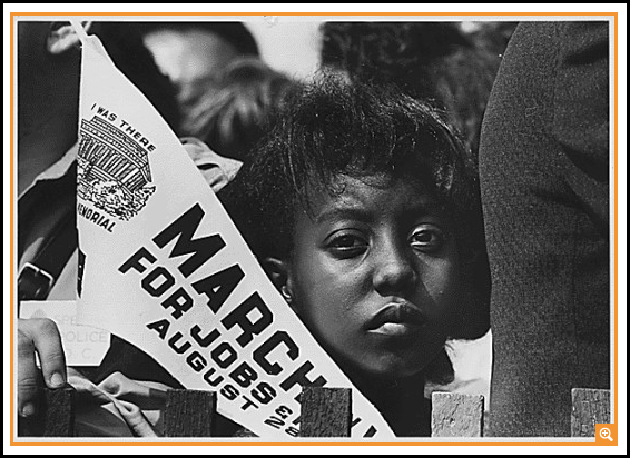Photograph of a Young Woman at the Civil Rights March on Washington, D.C. with a Banner, 8/28/1963