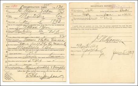 RG 163 - Draft Card for E. Glover Jordan – Monticello, GA