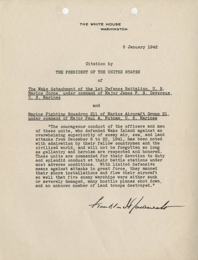 Presidential Unit Citation from President Franklin D. Roosevelt, January 5, 1942