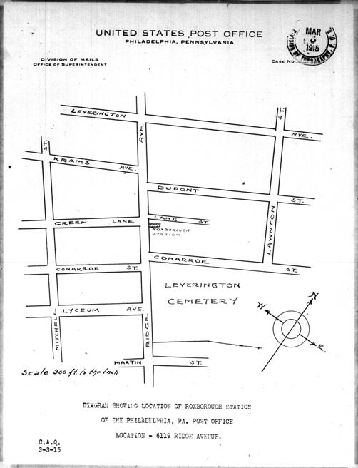 1915 map showing location of Roxborough Station Post Office in Philadelphia, PA
