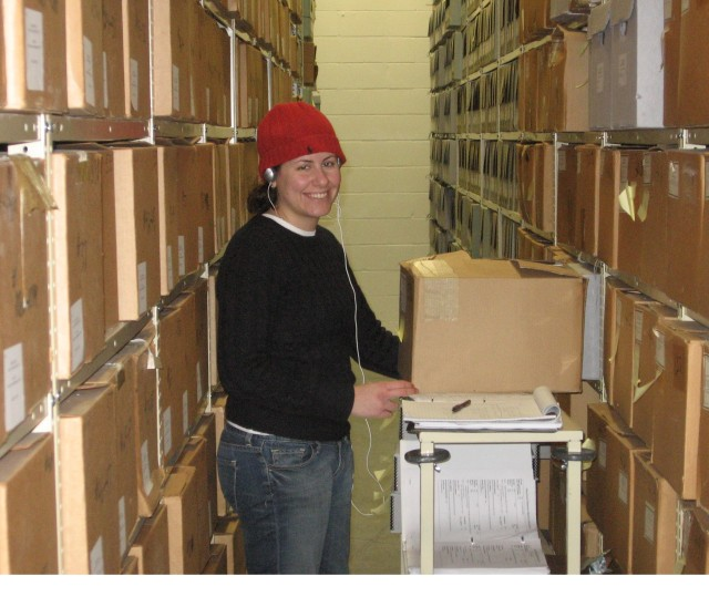 Ashley Bucciferro describes archival records sent to off-site storage in Lee's Summit, Missouri