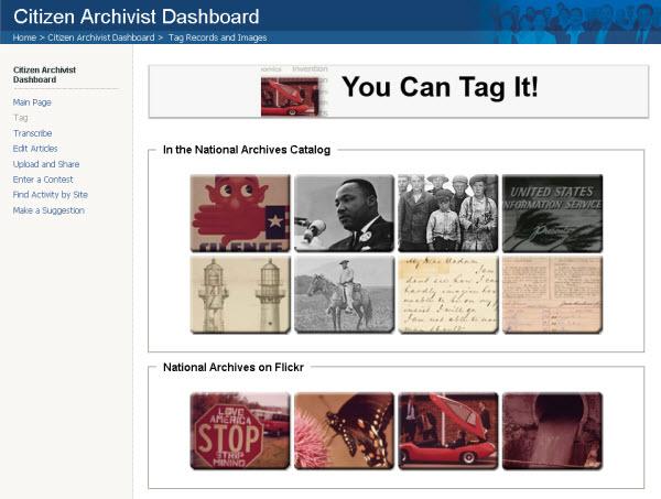 Citizen Archivist Dashboard Tagging Missions