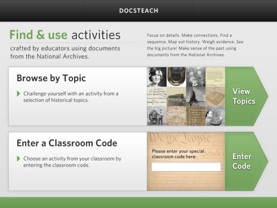 DocsTeach App Homescreen