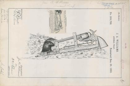 Drawing of an Animal Trap by J. A. Williams, 12/26/1882