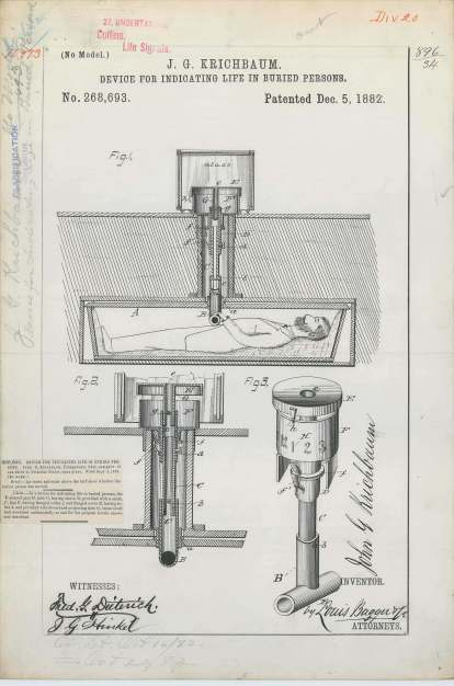 Patent Drawing for J. G. Krichbaum's Device for Indicating Life in Buried Persons, 12/05/1882