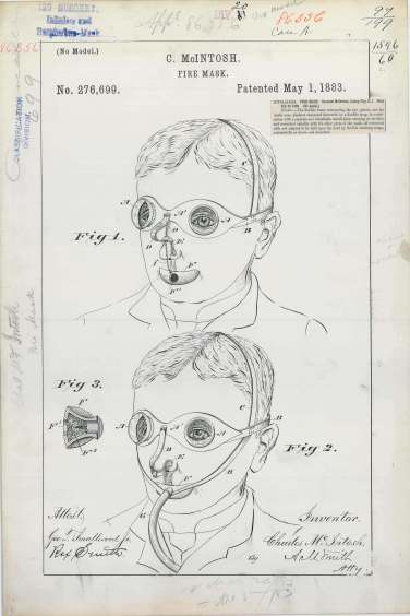 Patent Drawing for C. McIntosh's Fire Mask, 05/01/1883