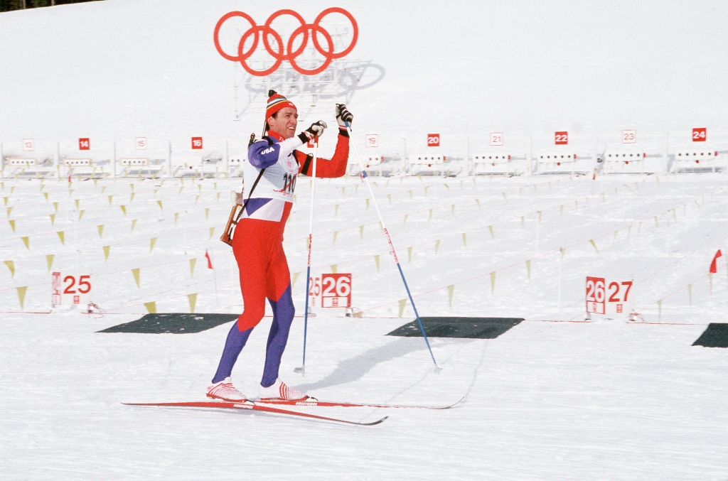 Major (MAJ) Lyle Nelson, Vermont Army National Guard, skis during the biathlon competition, part of the 1988 Winter Olympics, 02/20/1988. NARA ID: 6437920