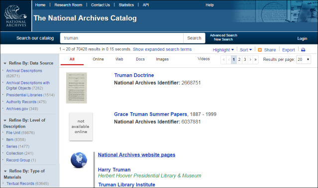 "Screenshot of catalog search for ""Truman"""