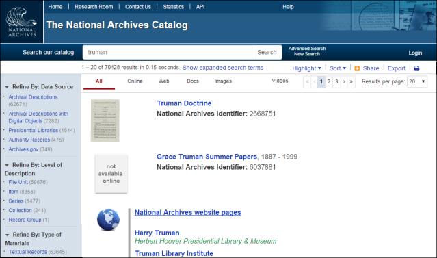 "Screenshot of catalog search for ""Truman"""