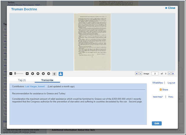Screenshot of Truman Doctrine transcription screen