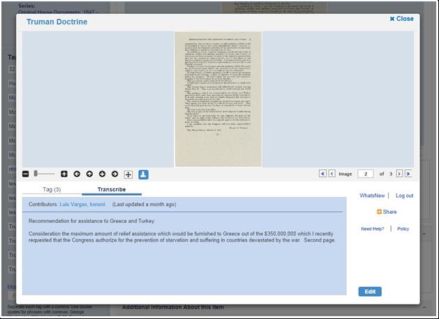 Screenshot of Truman Doctrine transcription screen
