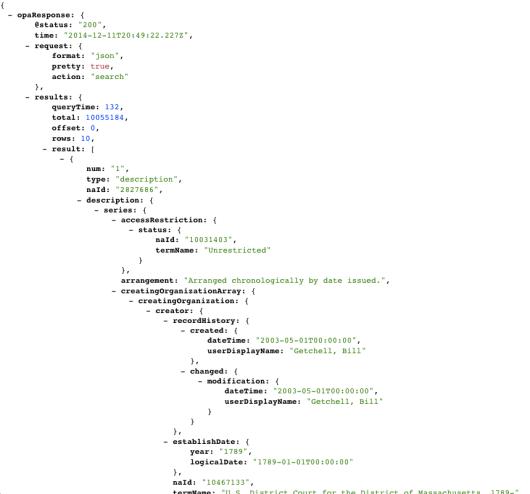 National Archives API sample