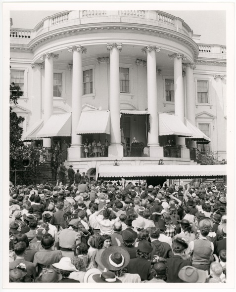 Franklin D. Roosevelt Addresses Crowd at the White House Easter Egg Roll, 4/14/1941. National Archives Identifier 17343446