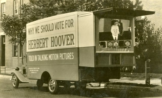 Talking picture unit designed by the Transport Publicity Corporation for Herbert Hoover's 1928 campaign. Hoover Presidential Library and Museum.
