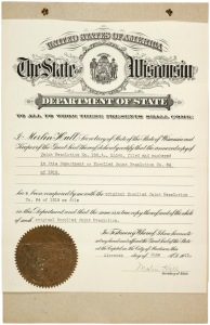 Wisonsin Ratification of the 19th Admendment, June 11, 1919 (page 1 of 3)