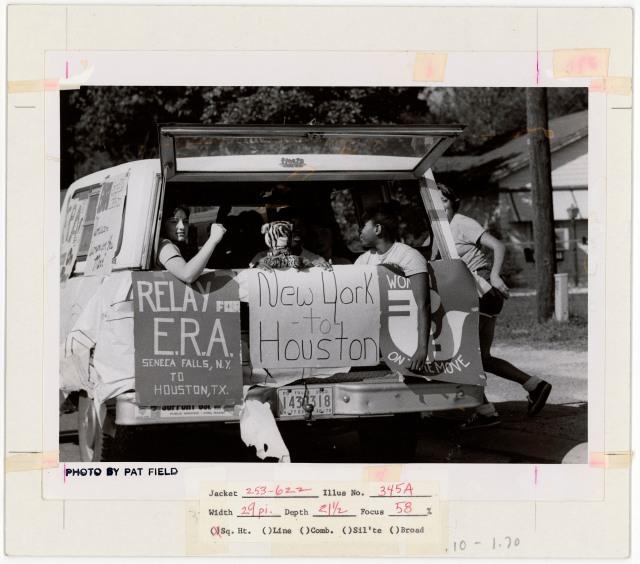 Photograph of Equal Rights Amendment (ERA) Posters on the Back of a Station Wagon, NARA ID 7452296