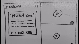 Starting to sketch out early designs of what the app might do, based upon our increasing understanding of the WWI content we are working with.