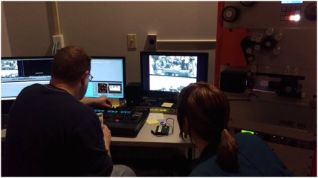 Watching Motion Picture Preservation staff hard at work restoring a film from RG-111, the primary record group containing a series of WWI films that we're utilizing for this project.