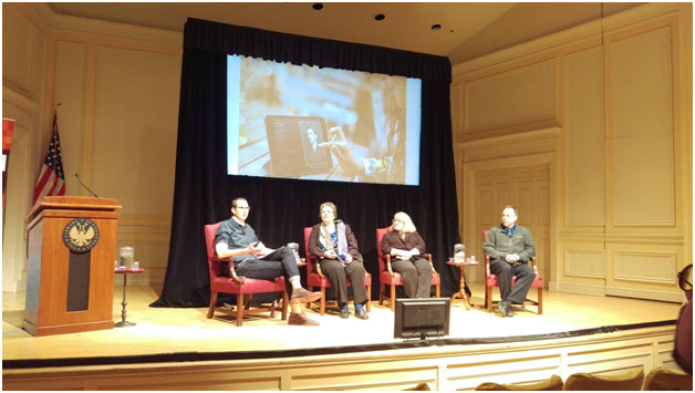 Jon Voss from Historypin moderating a panel focusing on institutional partnerships for the app project at DPLA Fest