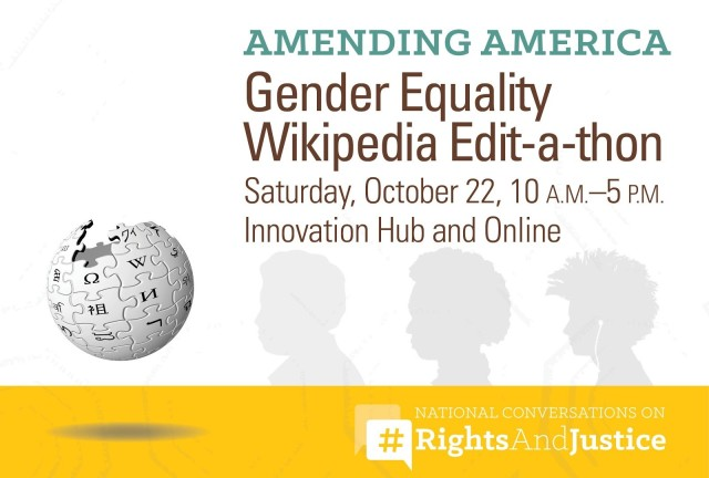 Gender Equality Edit-a-thon graphic showing Wikipedia logo and Amending America logo